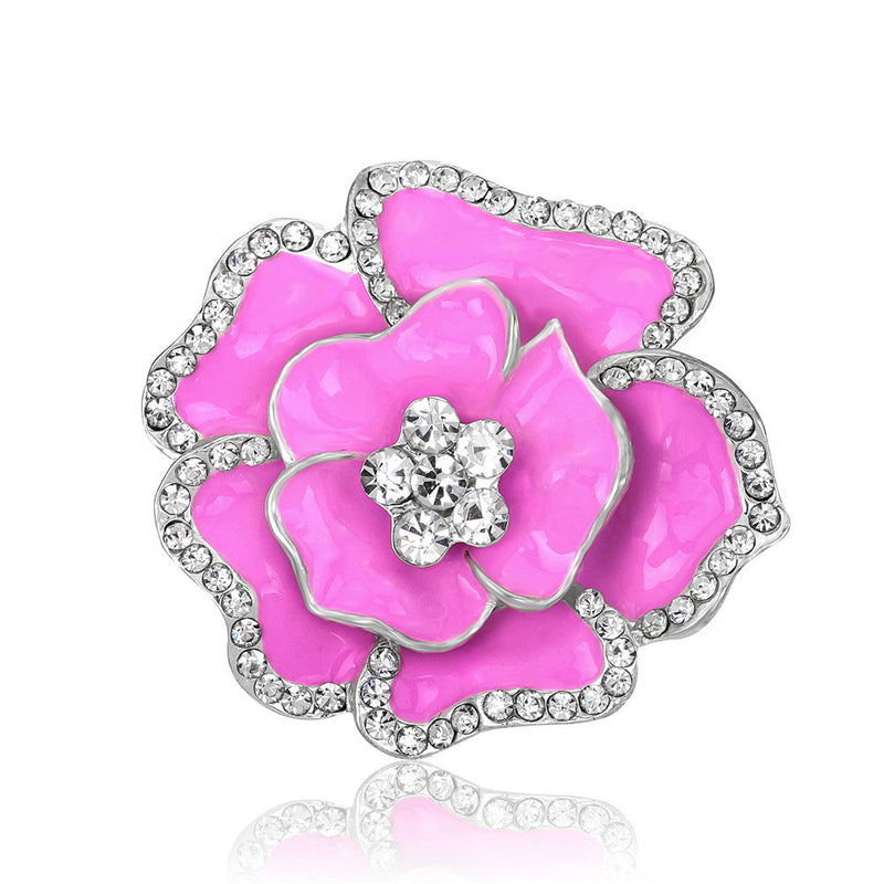 Beautiful Crystal Rose Flower Brooch - Oh Yours Fashion - 3