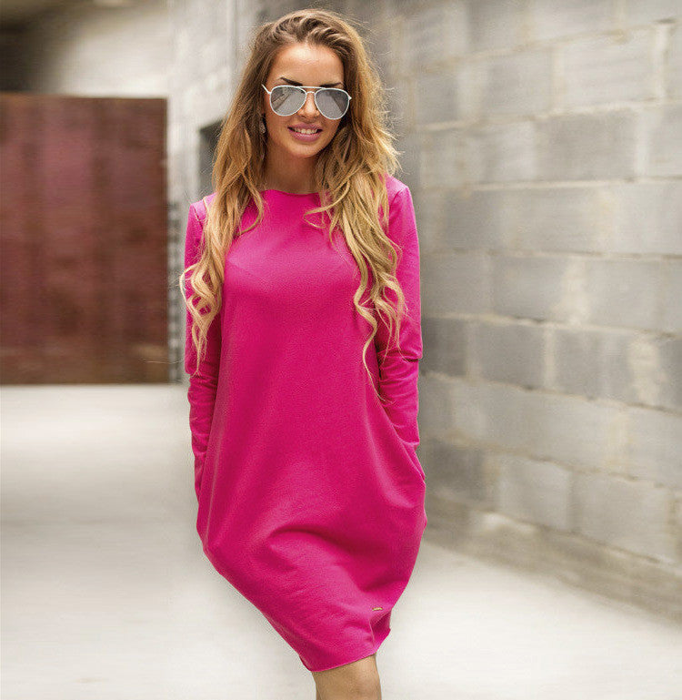 Fashion Loose Hidden Poctkets Long Sleeve Short Dress - Oh Yours Fashion - 5