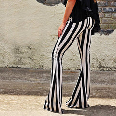 High Waist Striped Slim Elastic Bell-bottomed Long Pants