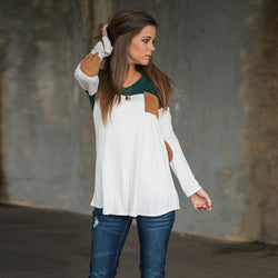 Fashion Contrast Color Long-Sleeve Round Neck Blouse - Oh Yours Fashion - 5