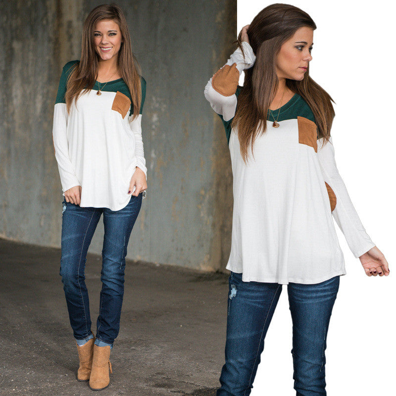 Fashion Contrast Color Long-Sleeve Round Neck Blouse - Oh Yours Fashion - 1