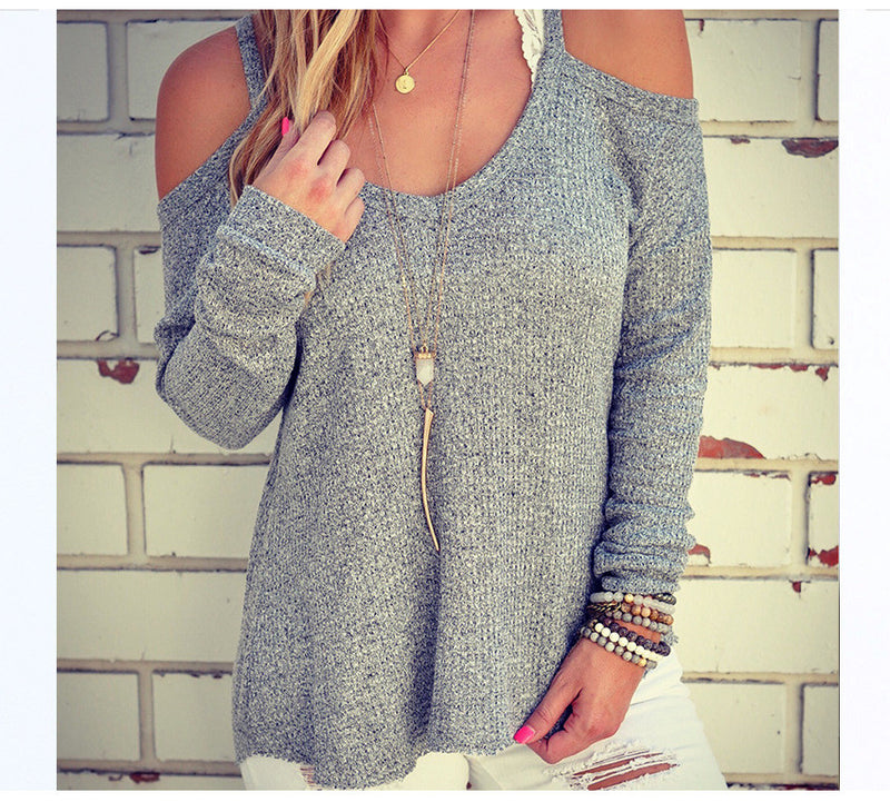 Sexy Dew Shoulder Loose Sweater - Oh Yours Fashion - 5