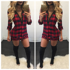 Sexy Lace Up Plaid Shirt Long Sleeve Short Bodycon Dress - Oh Yours Fashion - 4
