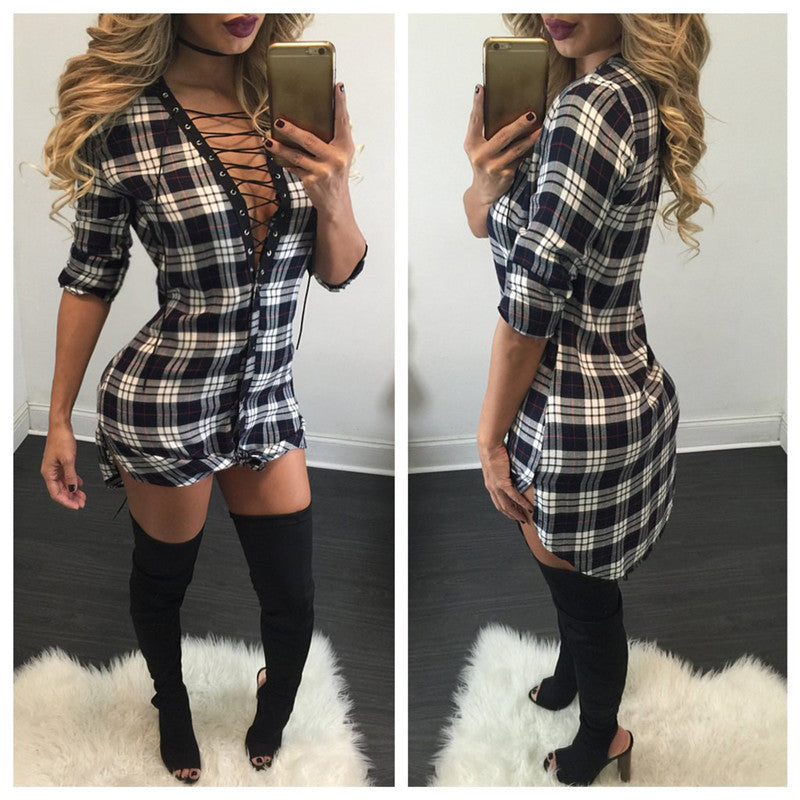Sexy Lace Up Plaid Shirt Long Sleeve Short Bodycon Dress - Oh Yours Fashion - 1