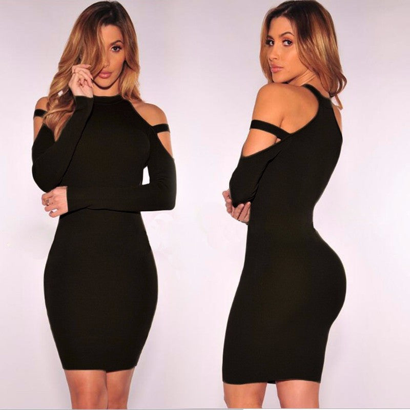 Dew Shoulder Long Sleeves Short Bodycon Dress - Oh Yours Fashion - 5