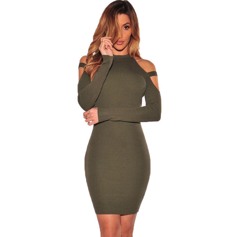 Dew Shoulder Long Sleeves Short Bodycon Dress - Oh Yours Fashion - 6