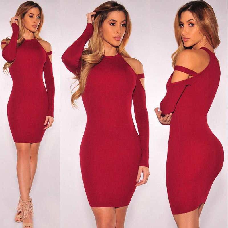 Dew Shoulder Long Sleeves Short Bodycon Dress - Oh Yours Fashion - 1