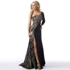 Sexy Lace Splicing One Shoulder Long Party Dress - Oh Yours Fashion - 4