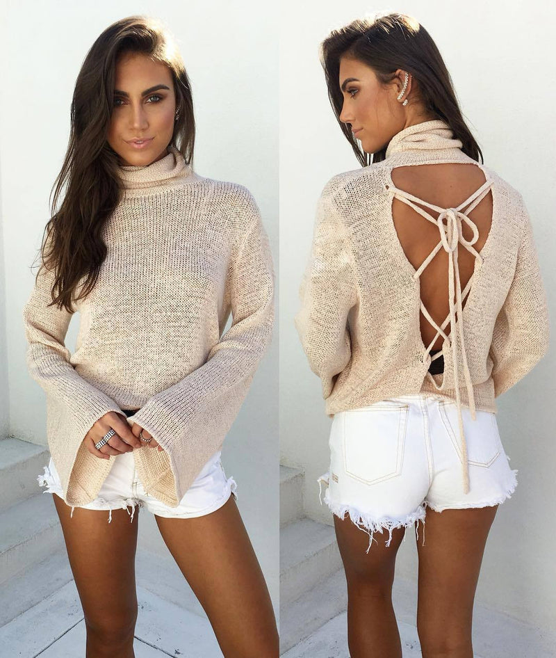 Sexy Back Lace Up Batwing High Neck Sweater - Oh Yours Fashion - 8