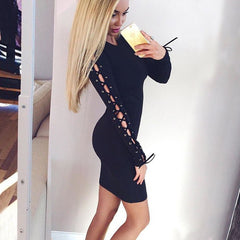 Hollow Out Lace Up Long Sleeve Black Short Bodycon Dress - Oh Yours Fashion - 2