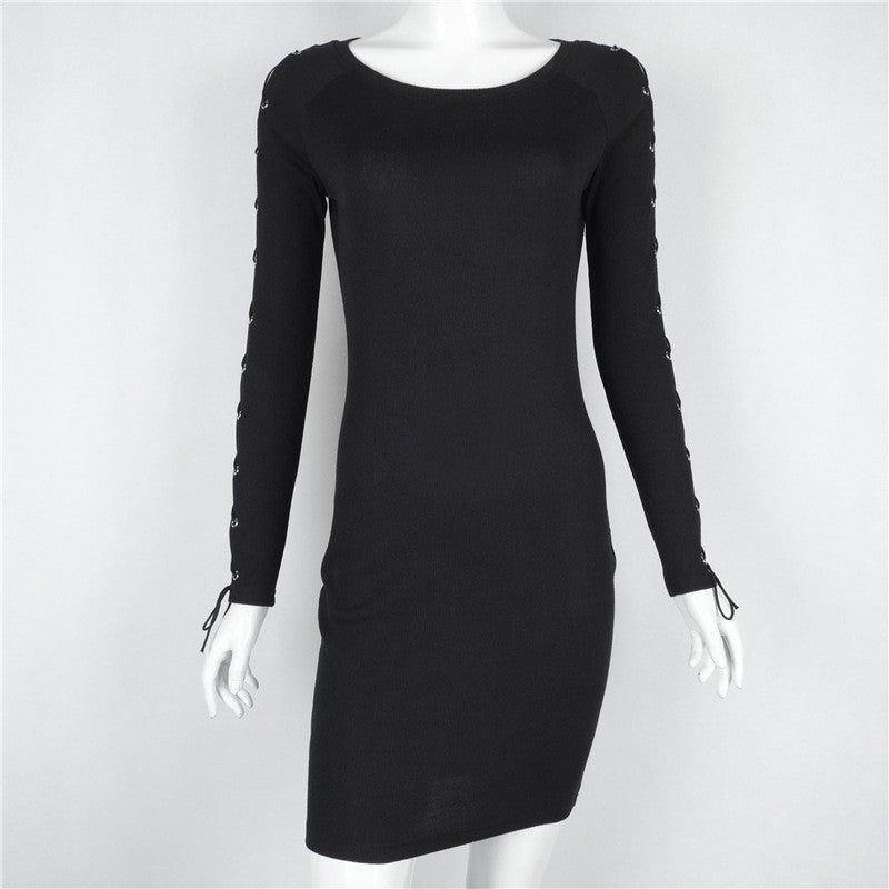 Hollow Out Lace Up Long Sleeve Black Short Bodycon Dress - Oh Yours Fashion - 4
