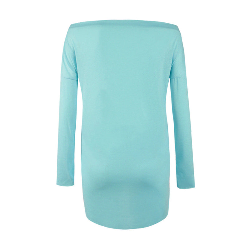 Sexy Scoop Long Sleeve Irregular Hemline Pure Color Blouse - Oh Yours Fashion - 6