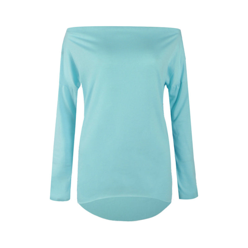 Sexy Scoop Long Sleeve Irregular Hemline Pure Color Blouse - Oh Yours Fashion - 5