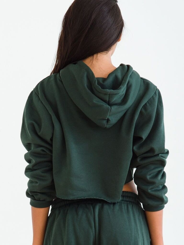 Solid Color Cropped Hoodie with Long Lantern Pants Two Pieces Set