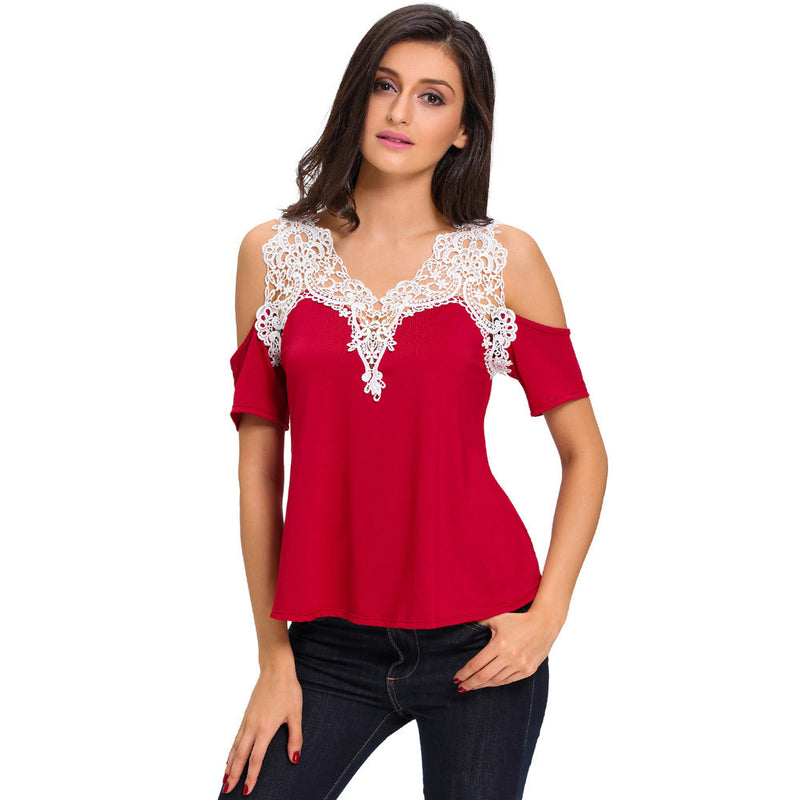 Dew Shoulder Stitching Embroidery Lace T-shirt - Oh Yours Fashion - 6