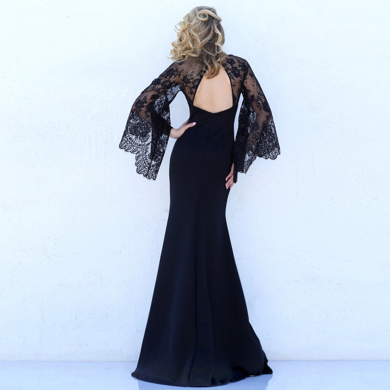 Beautiful Lace Bat Sleeves Deep V Mermaid Evening Dress - Oh Yours Fashion - 4