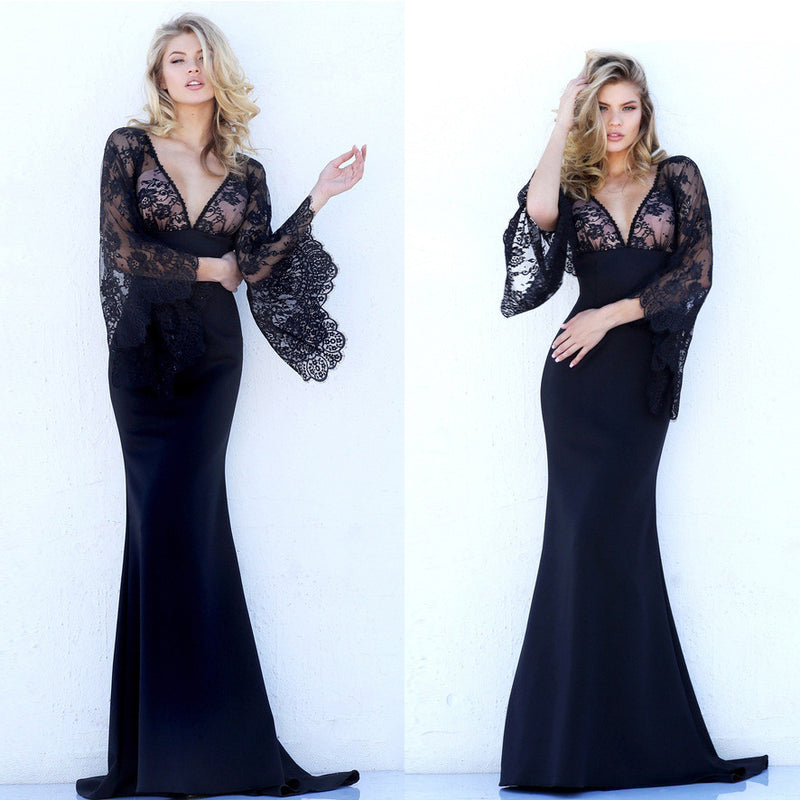 Beautiful Lace Bat Sleeves Deep V Mermaid Evening Dress - Oh Yours Fashion - 6