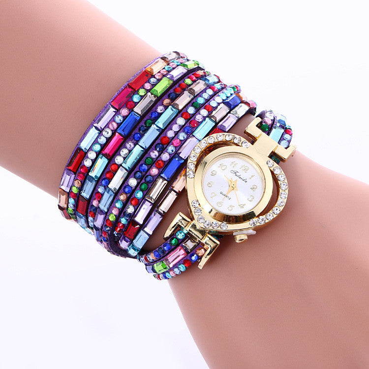 Color Crystal Heart Watch - Oh Yours Fashion - 1