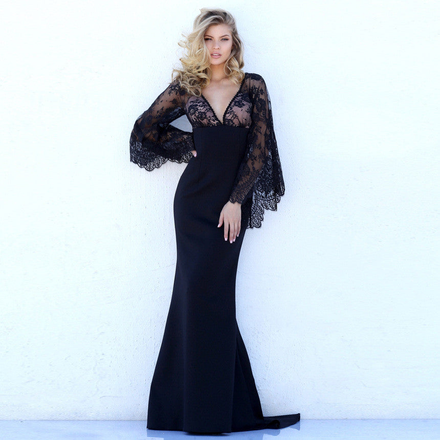 Beautiful Lace Bat Sleeves Deep V Mermaid Evening Dress - Oh Yours Fashion - 1
