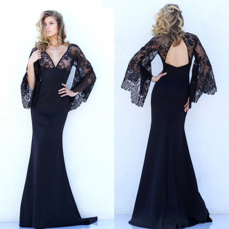 Beautiful Lace Bat Sleeves Deep V Mermaid Evening Dress - Oh Yours Fashion - 7