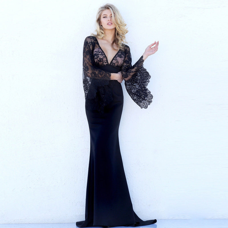 Beautiful Lace Bat Sleeves Deep V Mermaid Evening Dress - Oh Yours Fashion - 2