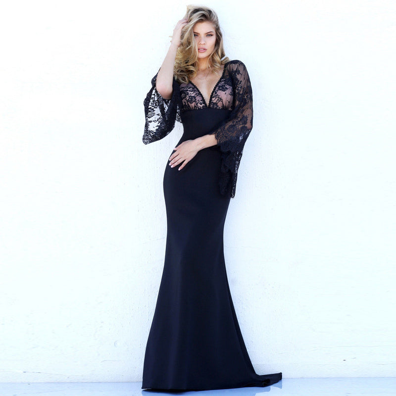 Beautiful Lace Bat Sleeves Deep V Mermaid Evening Dress - Oh Yours Fashion - 3