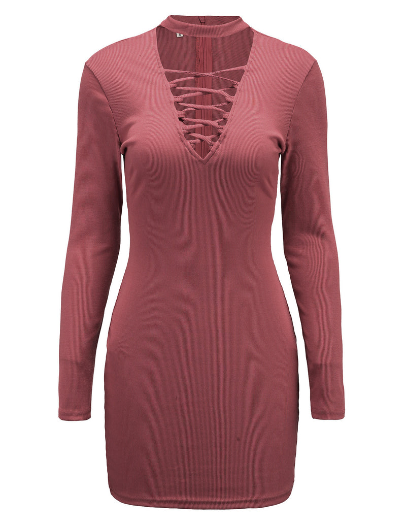 High Neck Criss Cross Long Sleeve Bodycon Short Dress - Oh Yours Fashion - 7