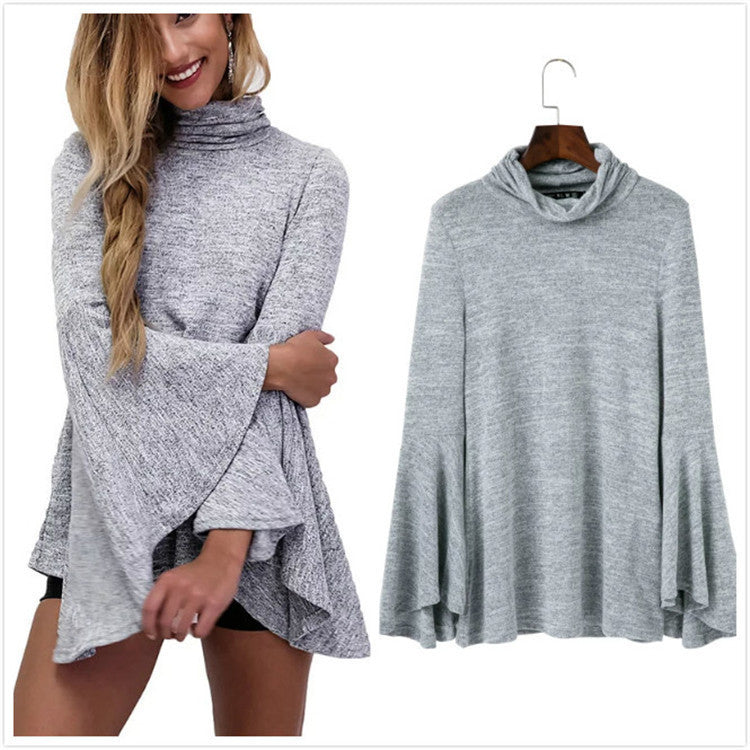 Bell Sleeve Back Slitting High Neck Sweater - Oh Yours Fashion - 3