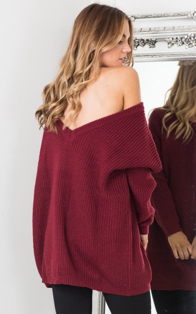 Fashion Pure Color Back Deep V Sweater Dress - Oh Yours Fashion - 3