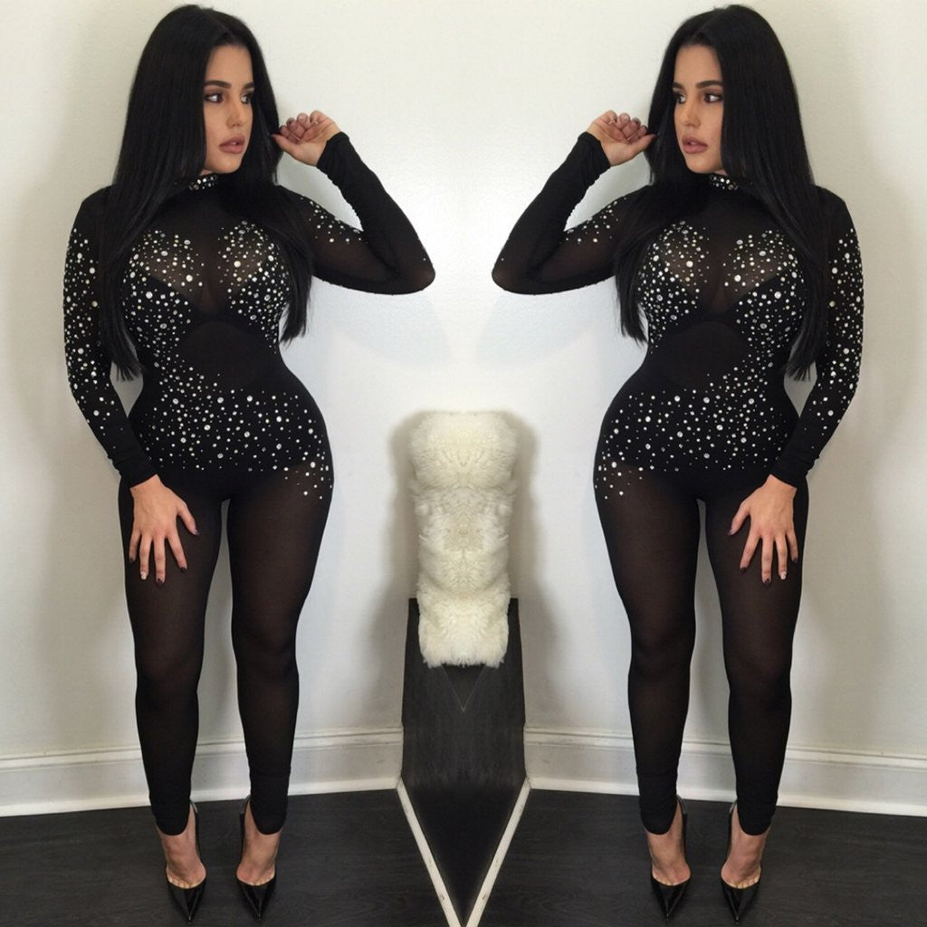f2f2bbab7df Sexy Long Sleeve Mesh Crystal See-Through Long Jumpsuits – Oh Yours ...
