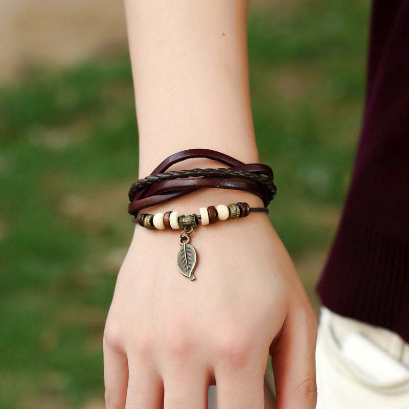 Punk Style Woven Leaf Pendant Leather Bracelet - Oh Yours Fashion - 1