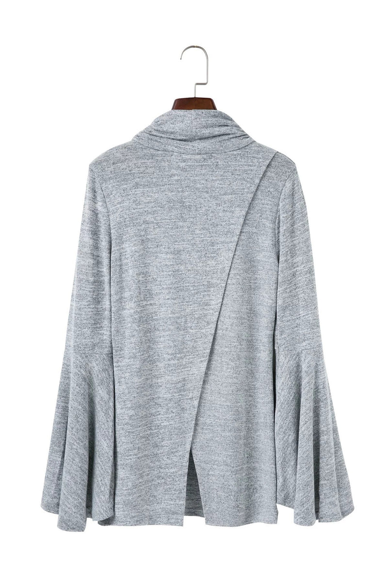 Bell Sleeve Back Slitting High Neck Sweater - Oh Yours Fashion - 7