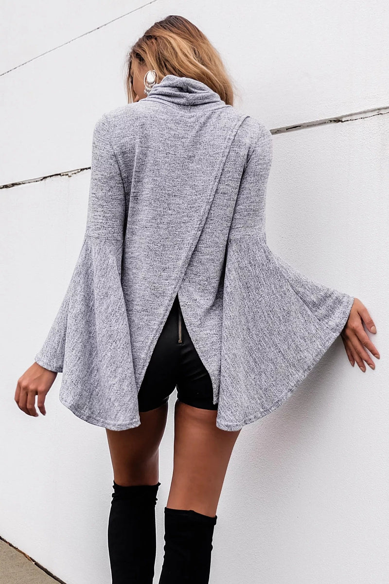 Bell Sleeve Back Slitting High Neck Sweater - Oh Yours Fashion - 5