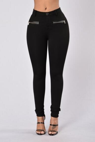 Black Regular Waist Zipper Pockets Casual Pencil Pants