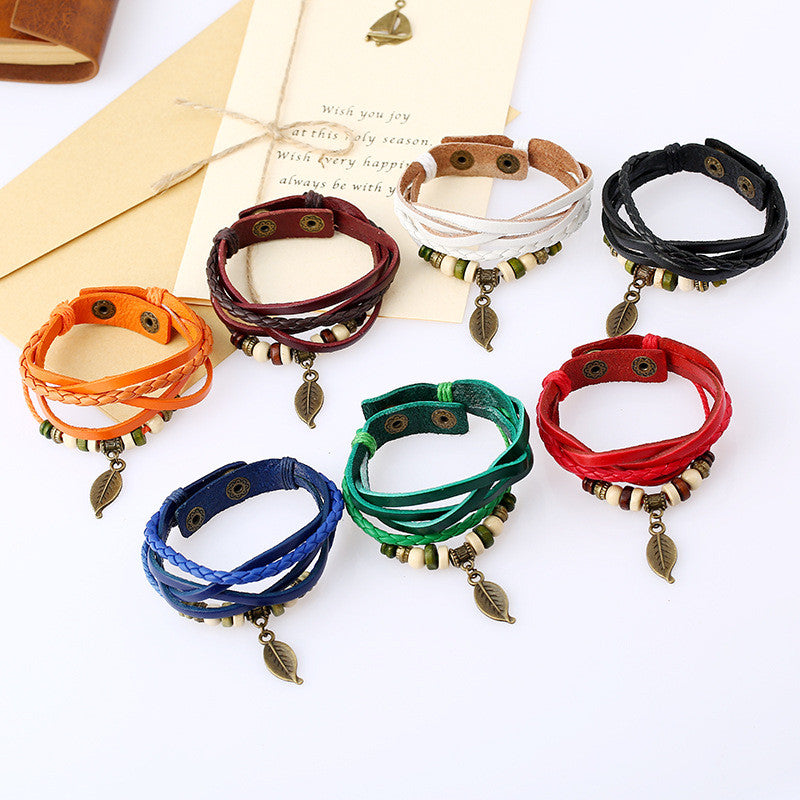 Punk Style Woven Leaf Pendant Leather Bracelet - Oh Yours Fashion - 3