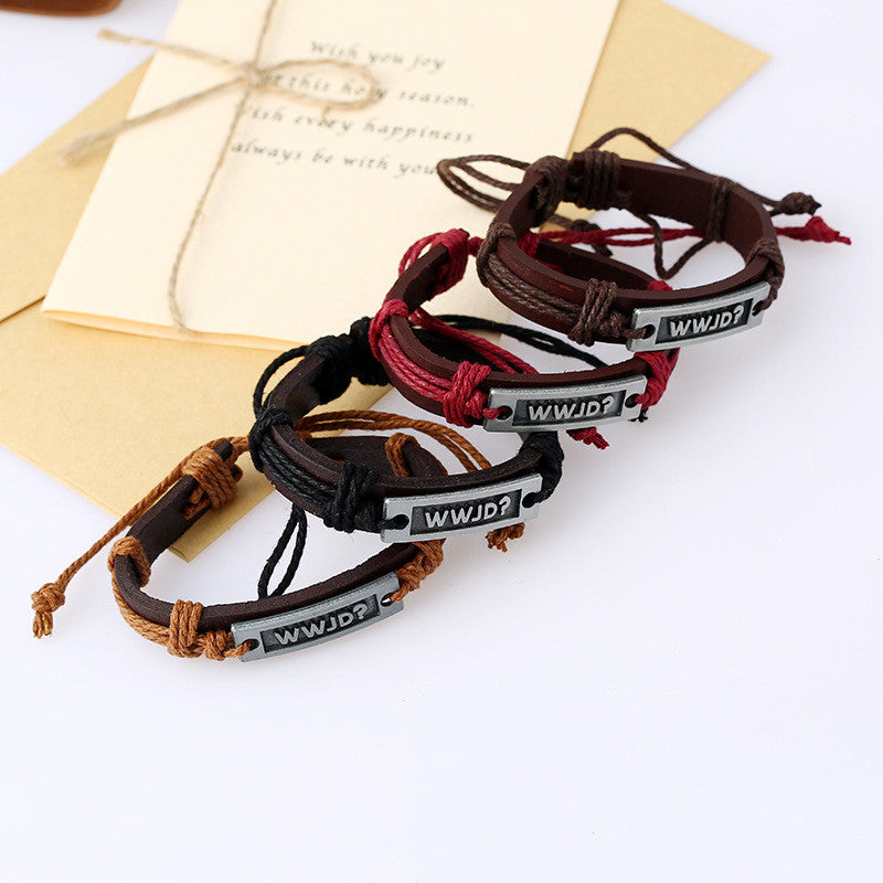 Retro Woven Leather Letters Bracelet Set - Oh Yours Fashion - 2