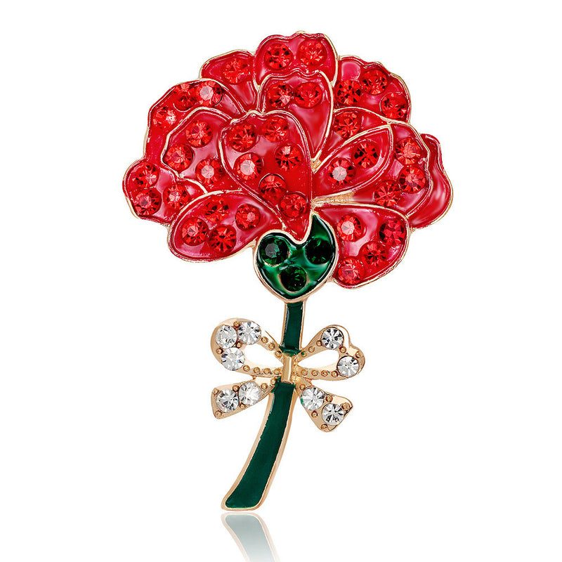 Retro Diamond Red Rose Brooch - Oh Yours Fashion - 1