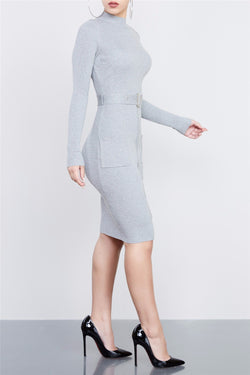 Sexy Knit High Neck Long Sleeve Bodycon Knee-length Belt Dress - Oh Yours Fashion - 3
