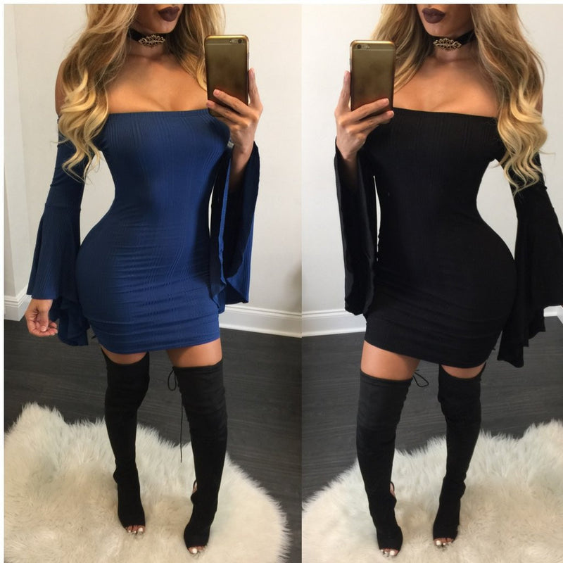 Sexy Off Shoulder Bell Sleeve Bodycon Short Dress - Oh Yours Fashion - 1