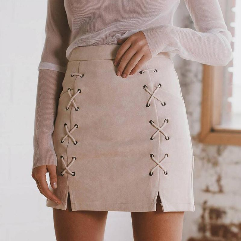 Suede Lace Up Pure Color Split Short Skirt