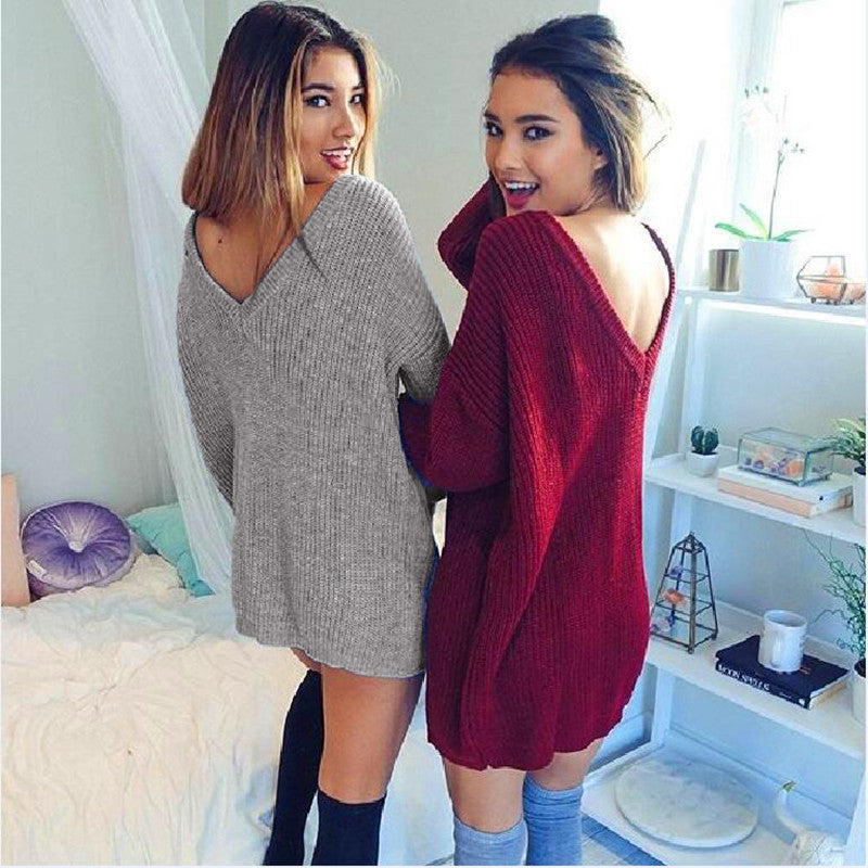 Fashion Pure Color Back Deep V Sweater Dress - Oh Yours Fashion - 2