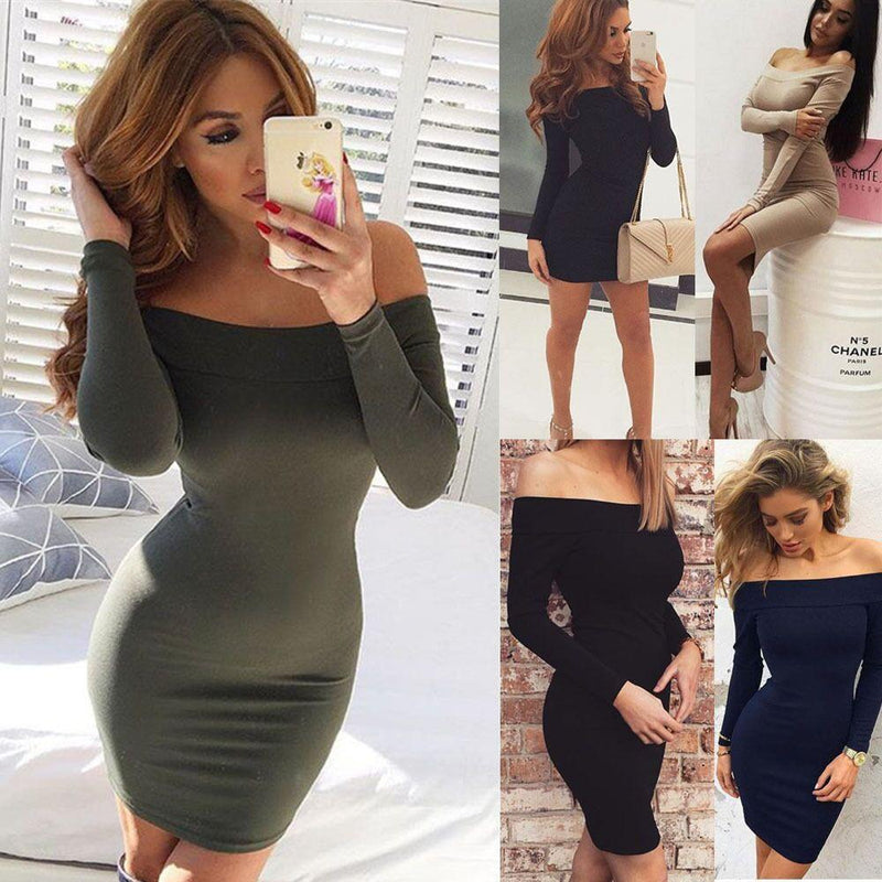 Sexy Off Shoulder Short Pure Color Long Sleeve Bodycon Dress