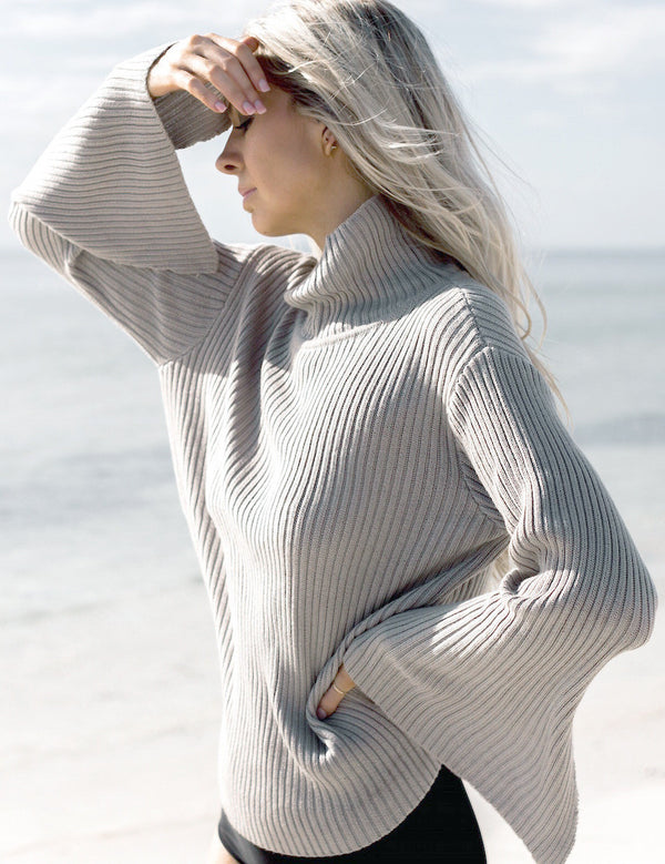 Fashion Loose Bell Sleeve Ribbed Sweater - Oh Yours Fashion - 2