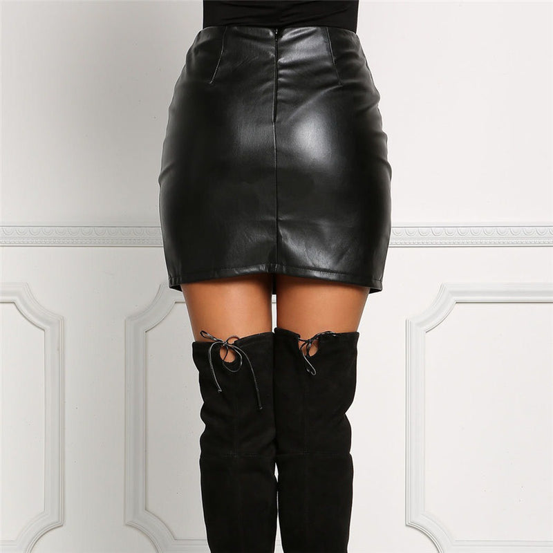 Black PU Lace Up Split Short Slim Skirt - Oh Yours Fashion - 6