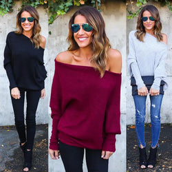 Fashion Loose Plus Size Bat Sleeve Boat Neck Knit Sweater - Oh Yours Fashion - 1