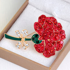 Retro Diamond Red Rose Brooch - Oh Yours Fashion - 2