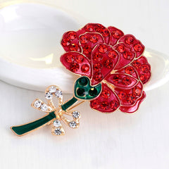 Retro Diamond Red Rose Brooch - Oh Yours Fashion - 4