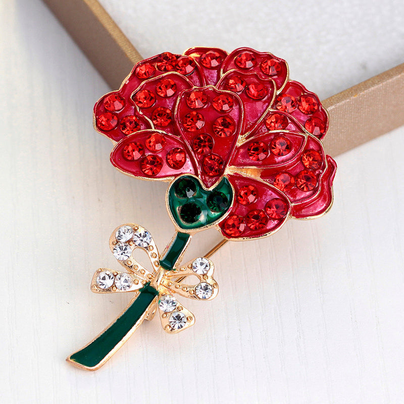 Retro Diamond Red Rose Brooch - Oh Yours Fashion - 3