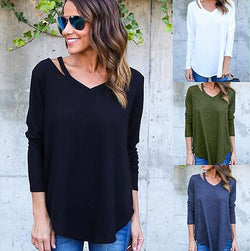 Long Sleeves V-neck Pure Color Loose Blouse Sweater