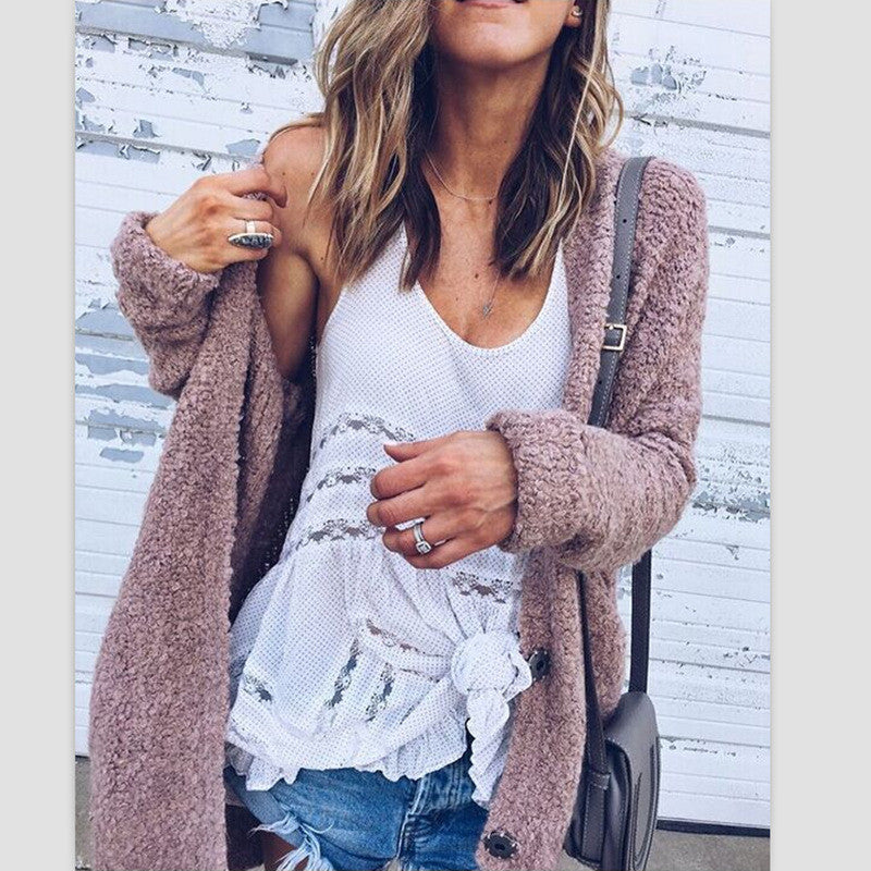Fashionable Joker Loose Long-Sleeved Fluffy Coat Cardigan - Oh Yours Fashion - 4